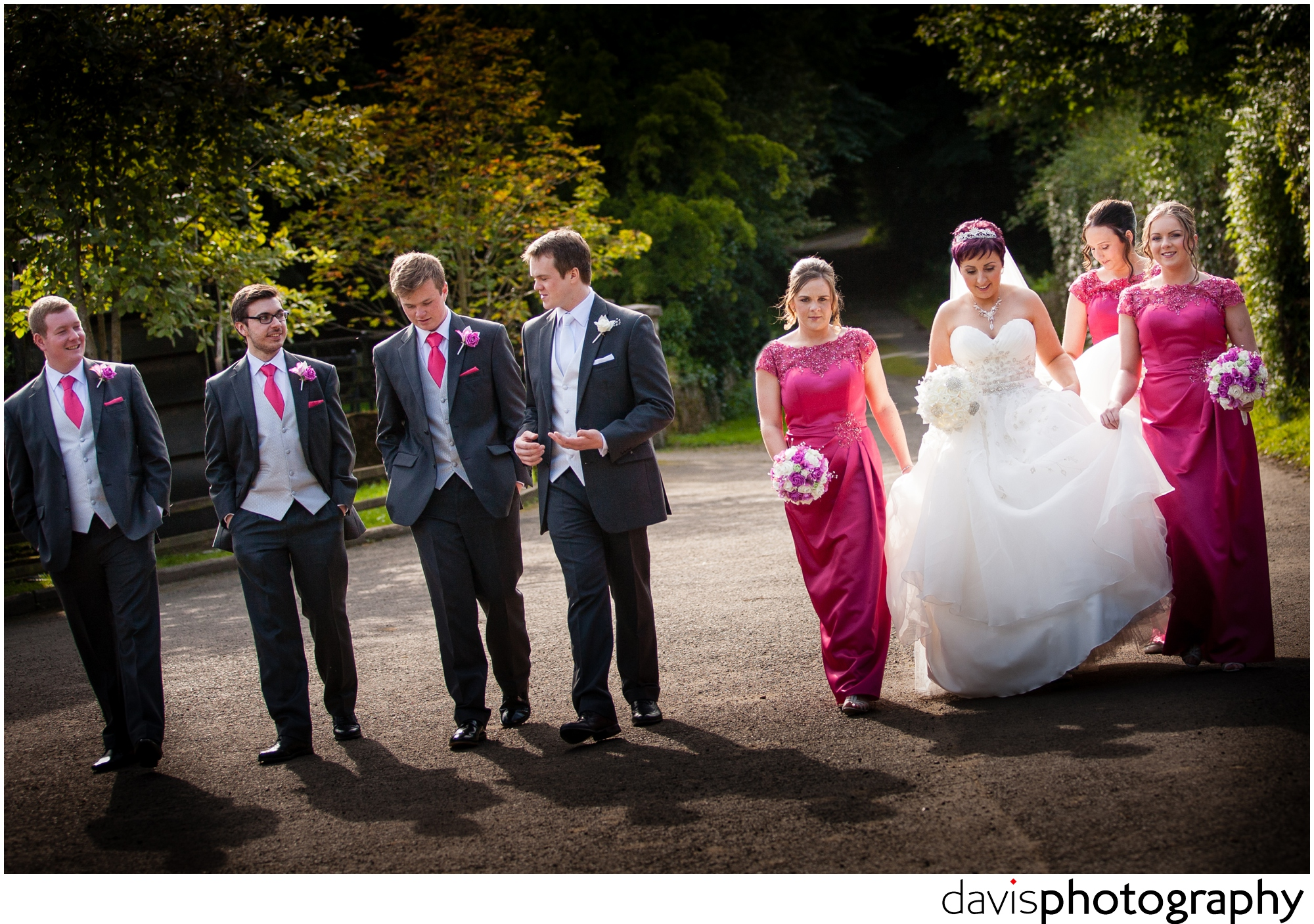 bridal party taking a walk