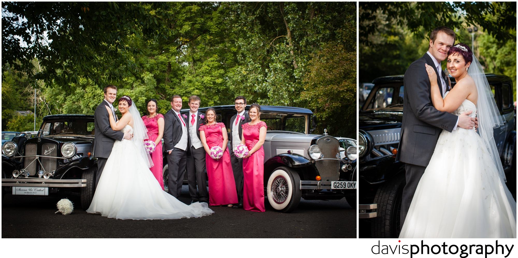 bridal party with limo