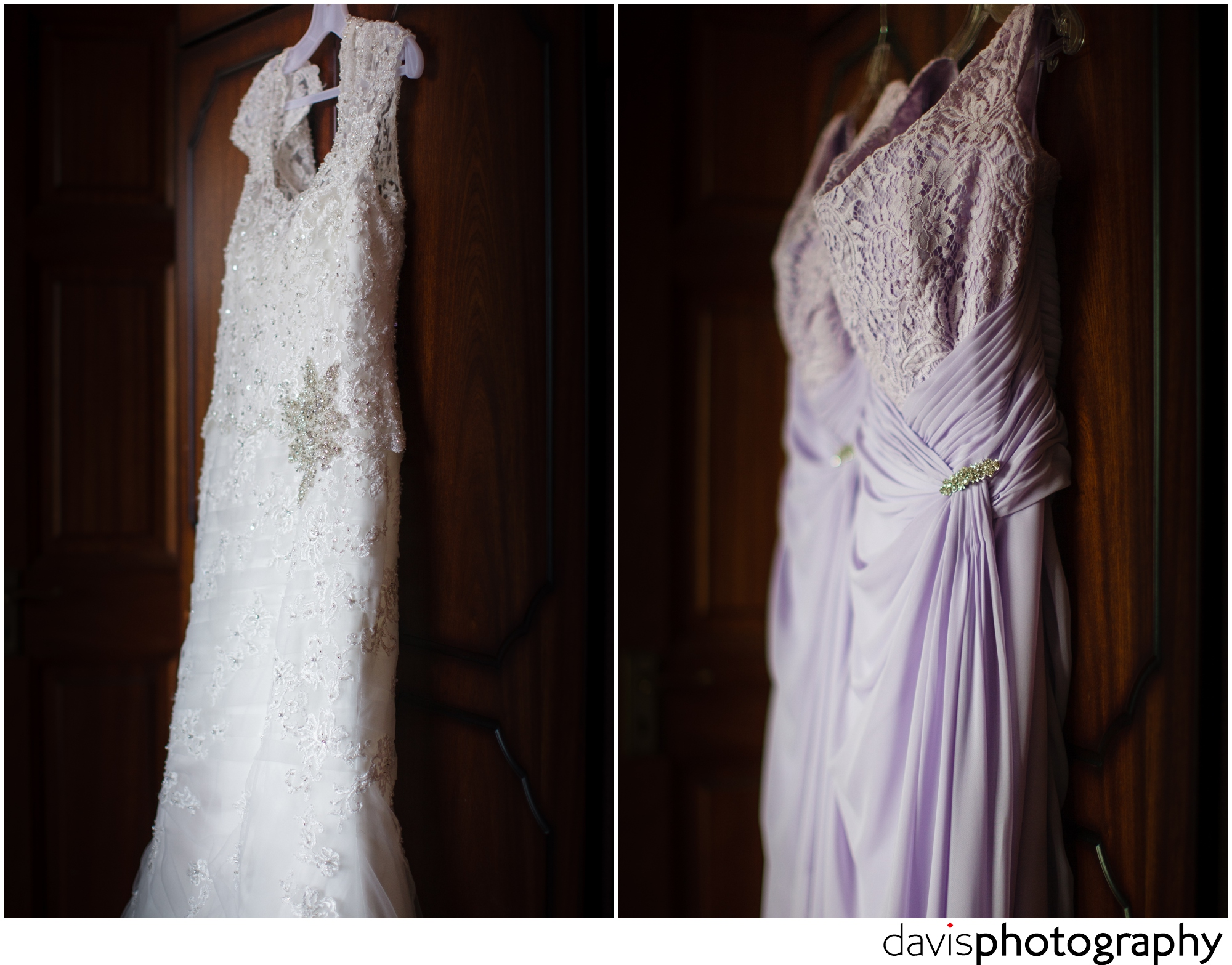 brides dress hanging up in her bedroom