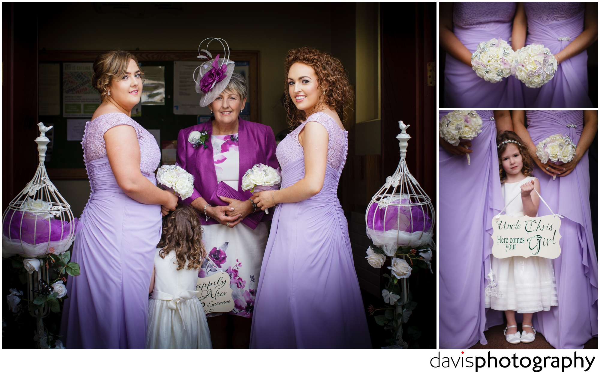 lilac coloured bridesmaids dresses with back detail