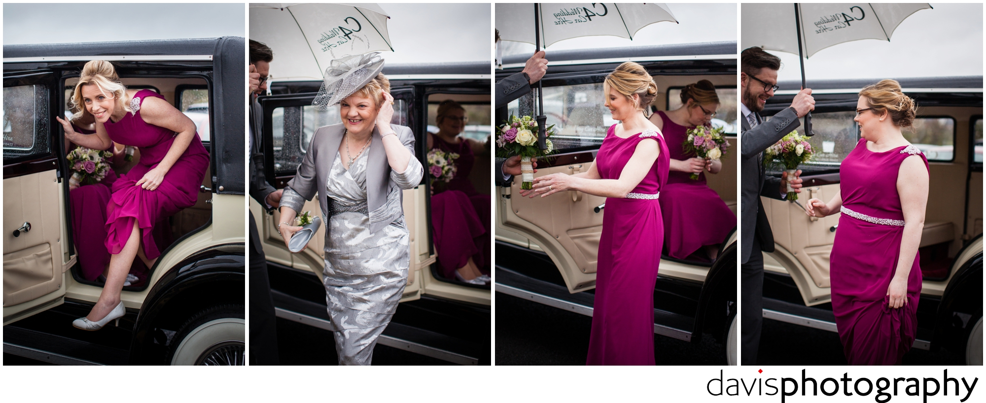 bridesmaids arrive in limo