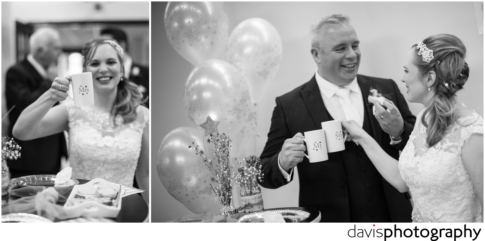 bride enjoys cup of tea with groom