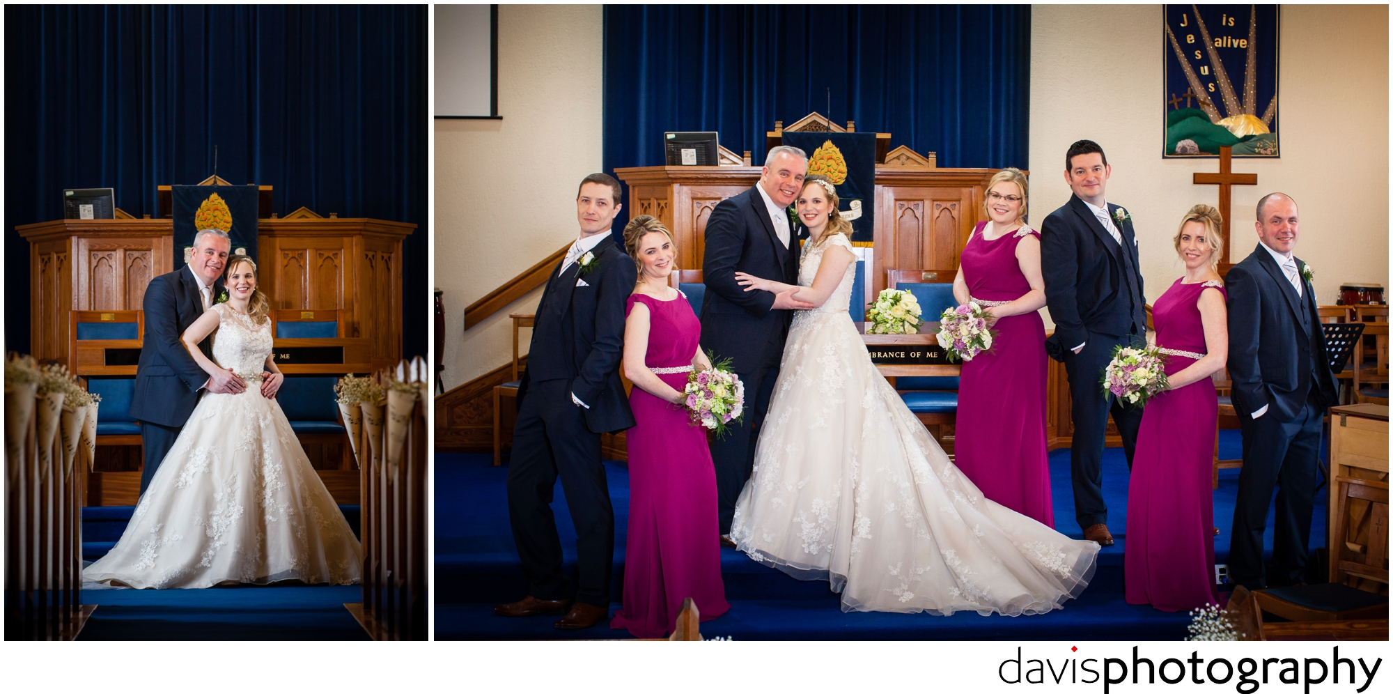 bridal party photographed at church alter