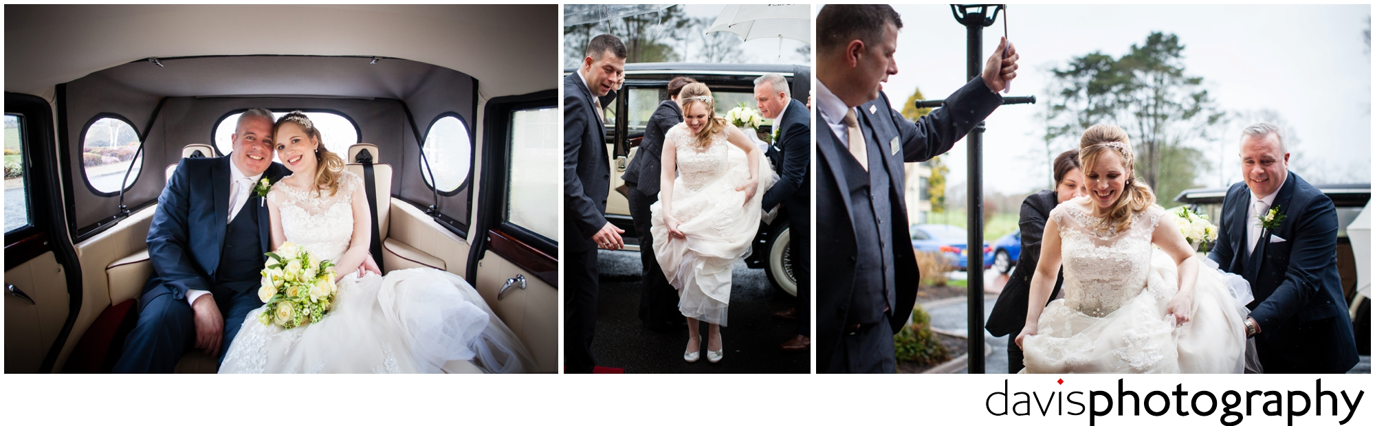 bride steps out of limo at hotel