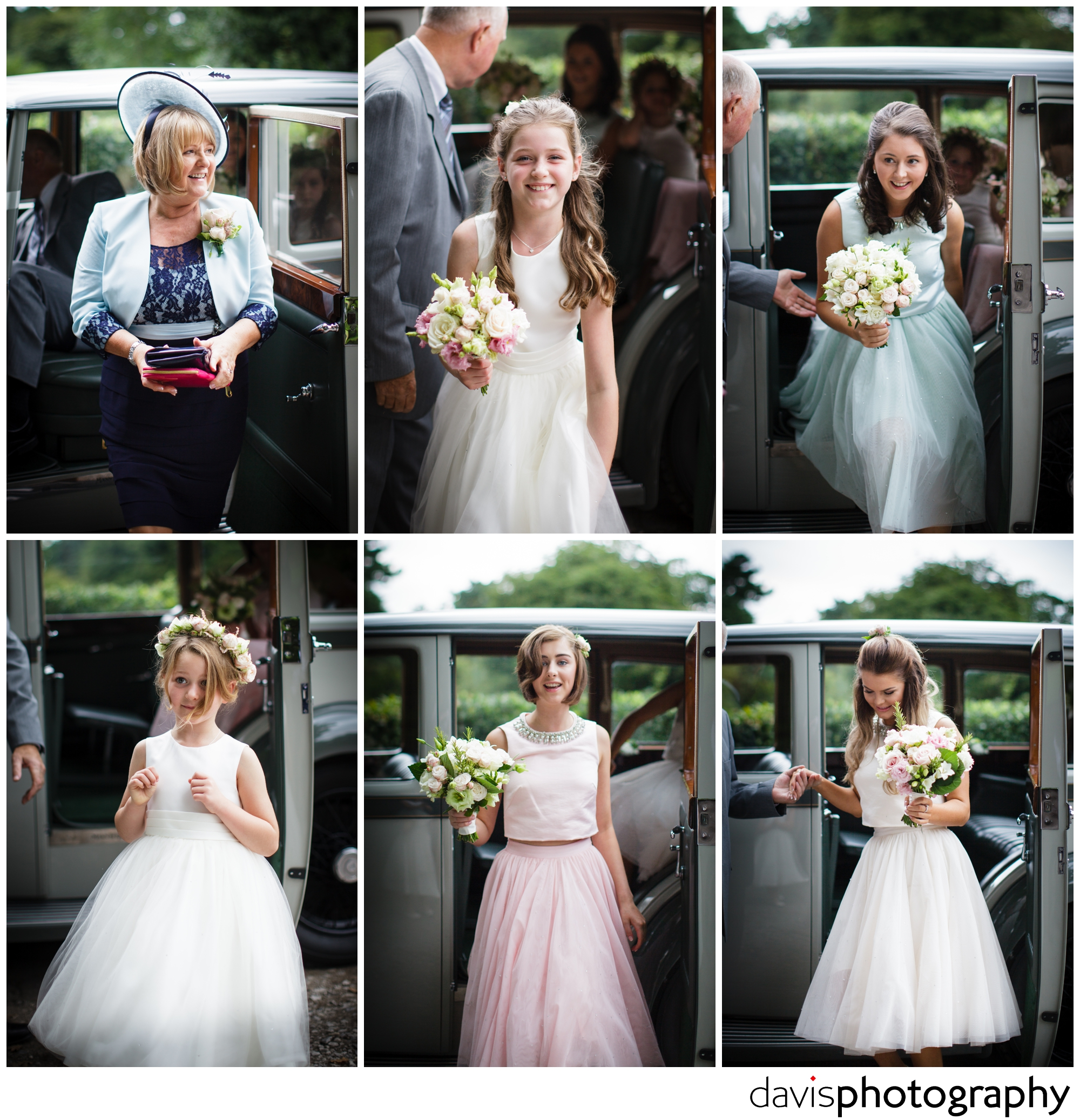 bridesmaids arrive in style,