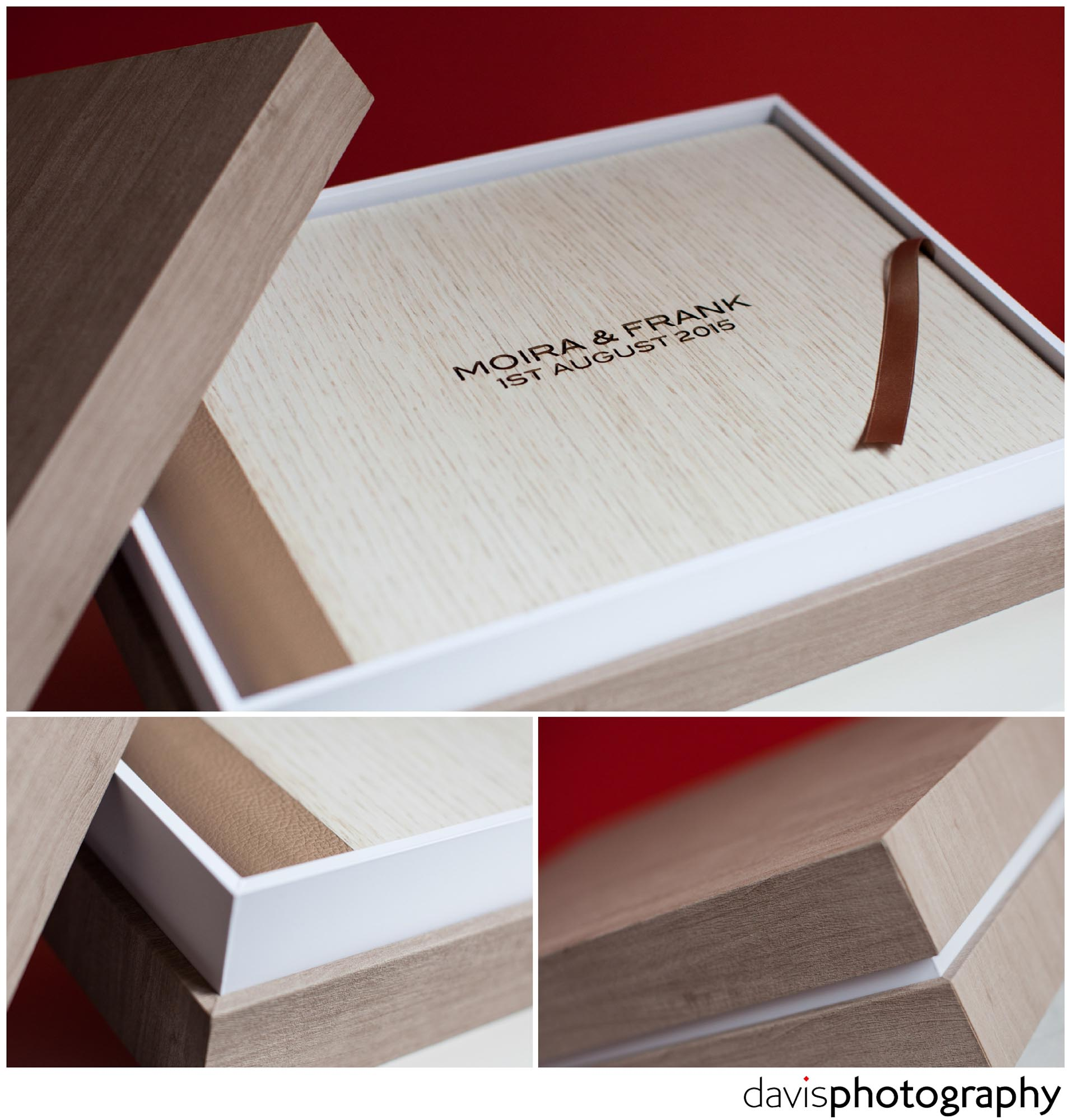 Beautiful design box with light moka coloured maple material and white touch border compliment this luxury wedding album