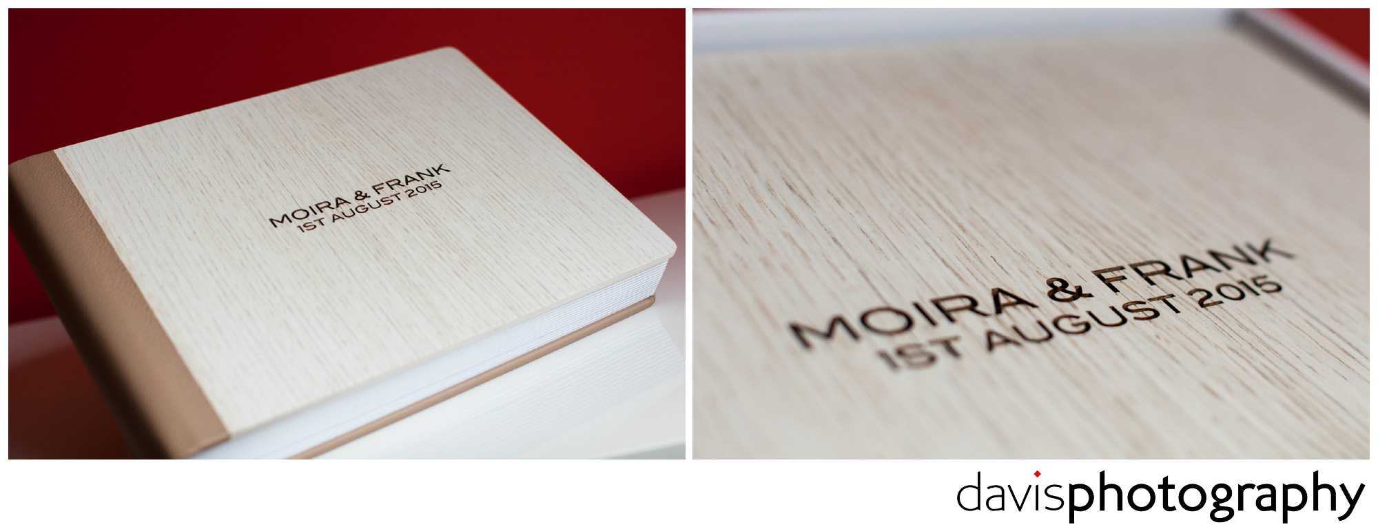 Wooden white oak covered album with spine and back wrapped in nutmeg coloured leather featuring bride and grooms names laser engraved into the front cover giving a burnt effect.