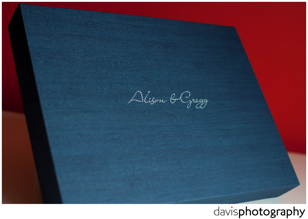 Maple material in dark blue surrounds this young book wedding album.
