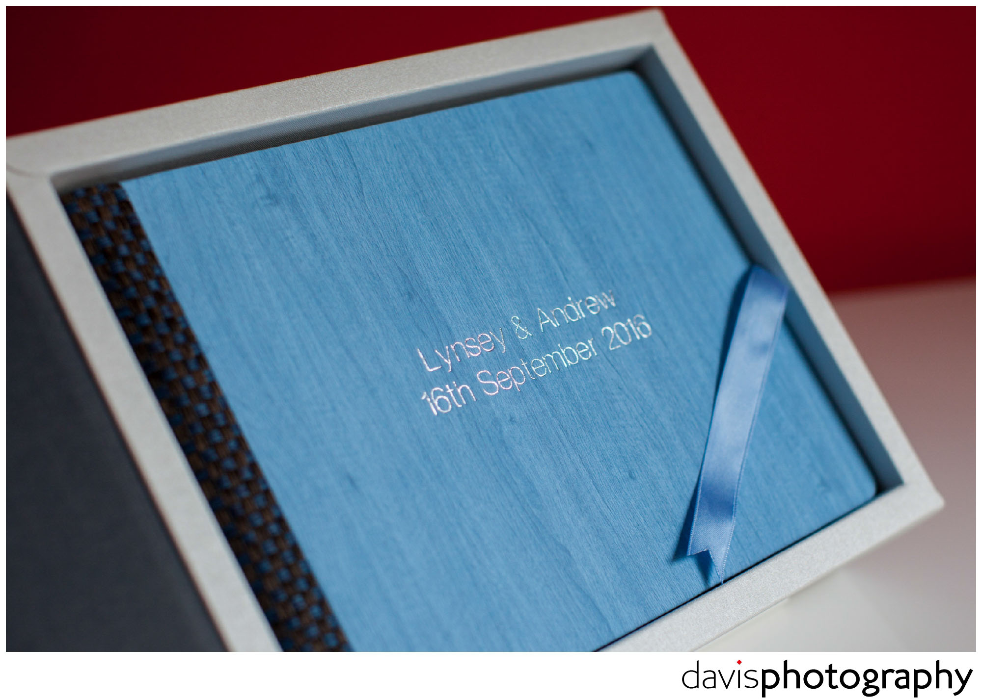 Custom built studio box houses this luxury powder blue matted album.