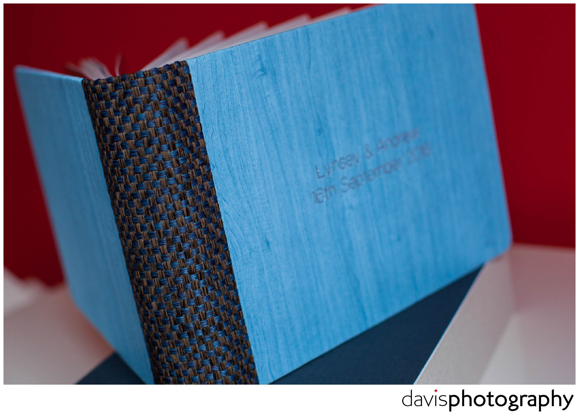 A woven spine with seamed finish allows the powder blue blue maple cover to appear front and back.