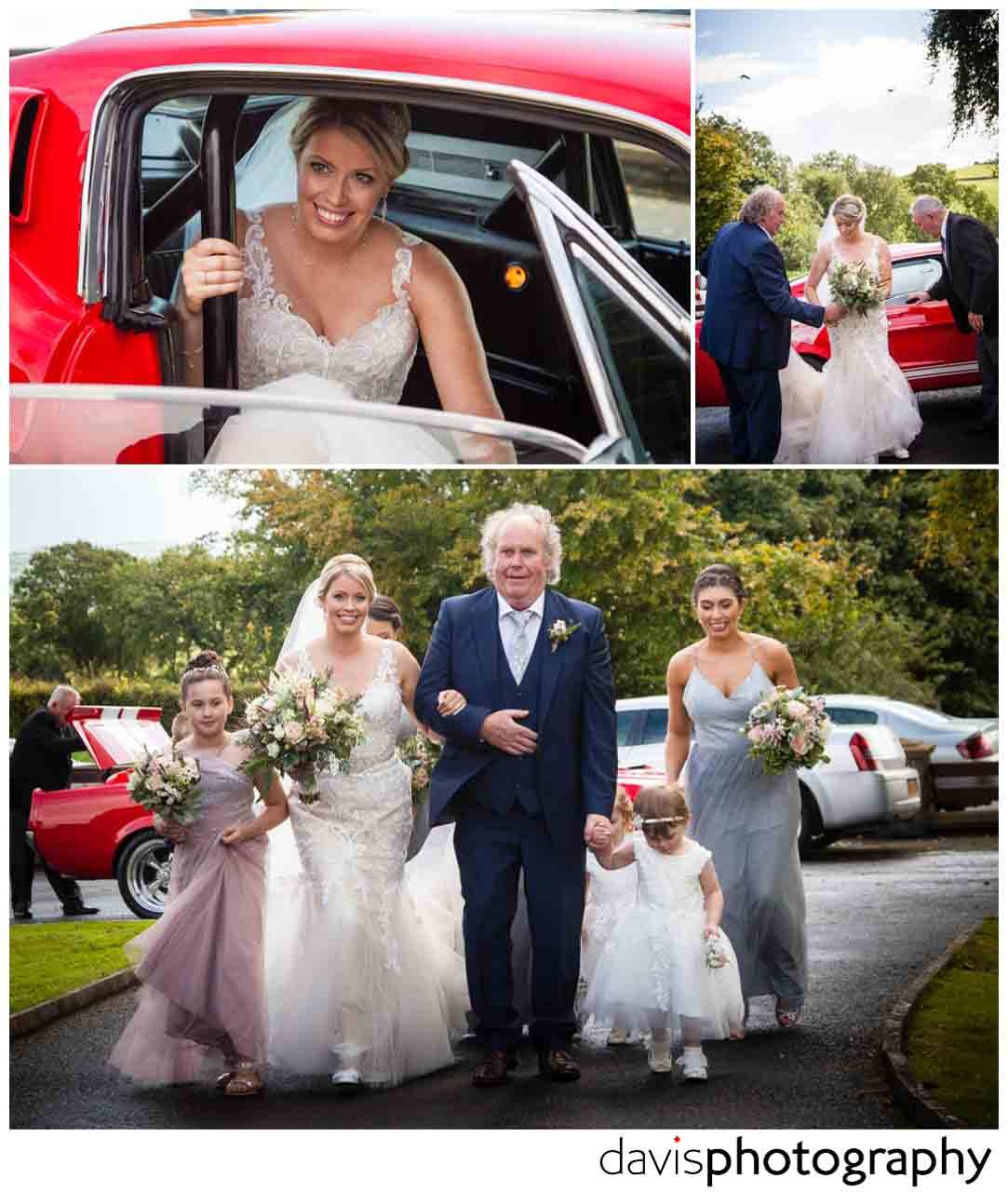bride arrives in ford mustang